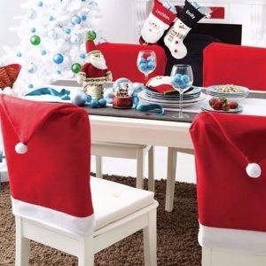 Capa de Cadeira para Natal Gorro / Chapéu de Papai Noel
